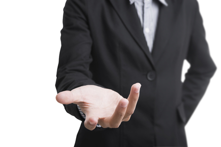 business man gesture helping hand. concept service support.