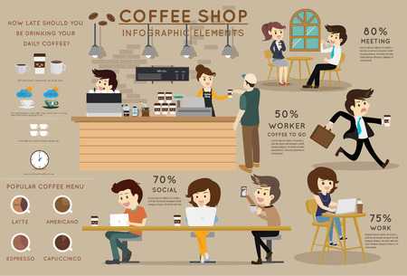 Coffee shop info grafisch element. Vlakke stijl en koffie winkel verhaal vector illustratie conceptontwerp.