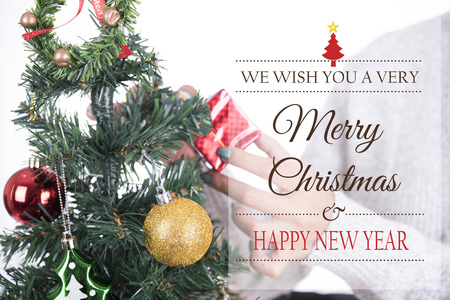 decorate: gift box with christmas tree and Merry Christmas and Happy New Year 2018 text on white background.