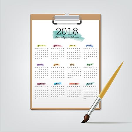 event planner: Desktop Calendar for 2018. Illustration