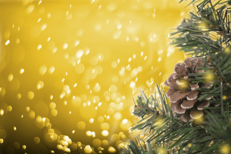 Christmas tree with decorations pine cone on gold bokeh background. for Happy New Year 2018