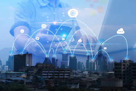 City scape and social network connection technology. telecommunication connection concept 版權商用圖片