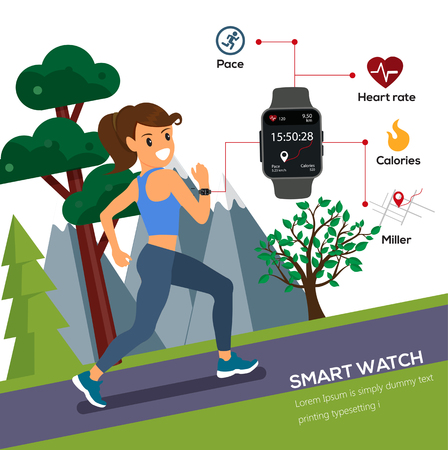 Woman and a sports watch images illustration