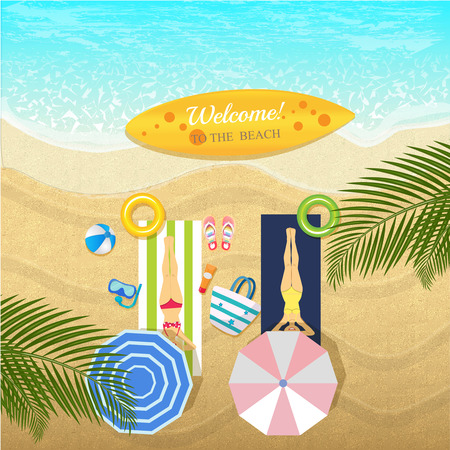 Summer banner on location beautiful beach background.Top View Can used for banner promote sale. Vector illustration