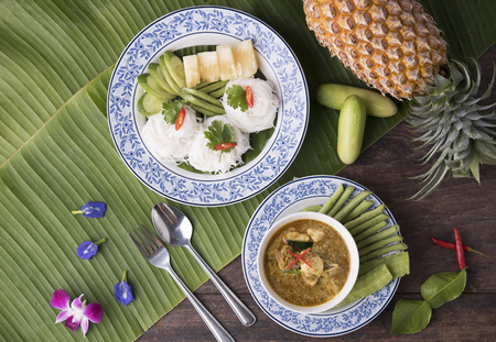 rice noodle with crab curry and . phuket style. Treditional Southern Thailand food spicy. Stock Photo