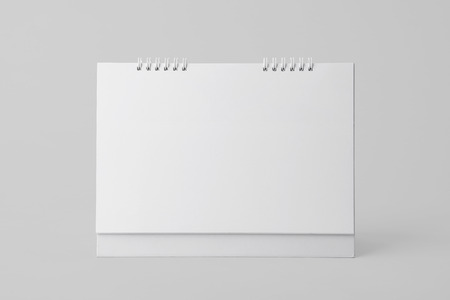 Blank paper spiral calendar for mockup template advertising and branding background. Banco de Imagens