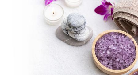 Spa accessories aromatic salt scrub and towel. Фото со стока