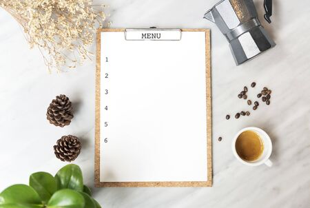 Menu paper mockup with coffee cup in restaurant for input design list text.