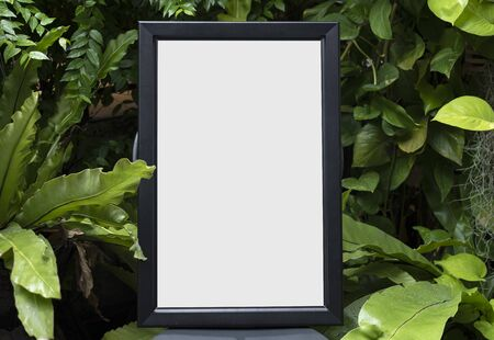 Blank Photo Frame for Design Mockup Template in the garden.