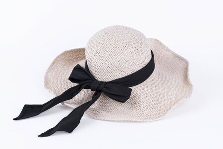 Straw beach hat isolated on white background. Object for summer cut out. Фото со стока