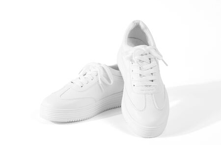 White sneakers isolated on white background. object for cut out and clipping path.