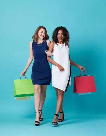 Portrait of two happy young woman hand holding shopping bag isolated over blue background. 스톡 콘텐츠 - 130127747