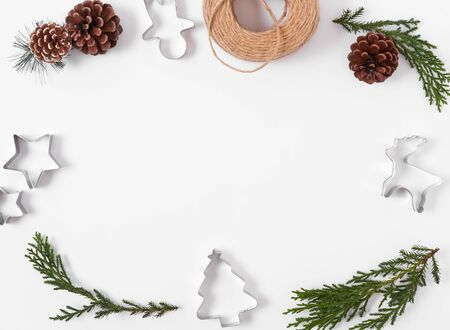 Christmas composition background with decorations on white background. winter, new year concept. Flat lay, top view, copy space.