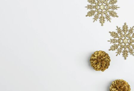 Mock up christmas composition with decorations and snowflake with star on white background. winter, new year concept. Flat lay, top view, copy space Banco de Imagens - 134081787