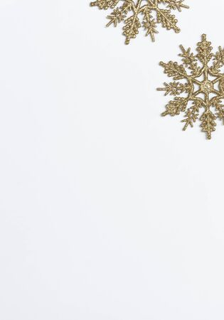 Mock up christmas composition with decorations and snowflake with star on white background. winter, new year concept. Flat lay, top view, copy space