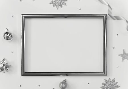 Mock up greeting frame on white background with Christmas decorations and confetti. Invitation card design for text.
