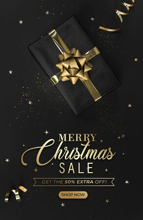 Black Friday Template banner with Gift box decorations gold confetti on black background for christmas and new year discount concept.
