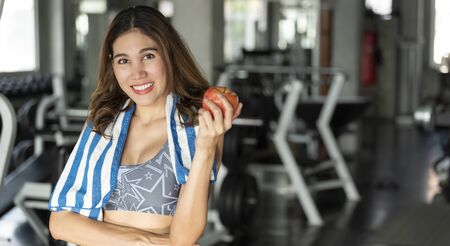 asian woman eating healthy apple. diet health lifestyle concept. Stock Photo