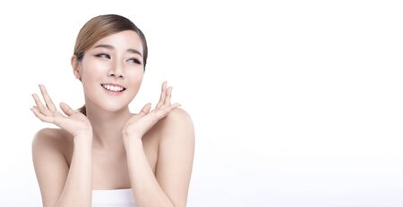 Beauty Young asian woman with perfect facial skin. Gestures for advertisement treatment spa and cosmetology. Banco de Imagens