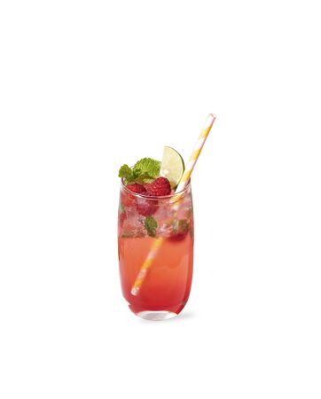 iced red raspberry punch cocktail with lime in glass on color background. summer drink.