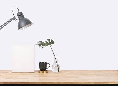 Empty wooden desk space over white background. Product display Stock fotó - 147814712