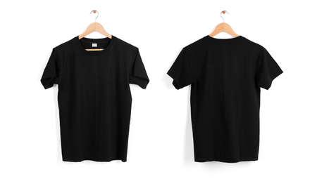Mockup blank black T-shirt hanger isolated on white background.