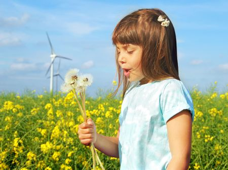 Little girl in front of windmills blowing dandelions  photo