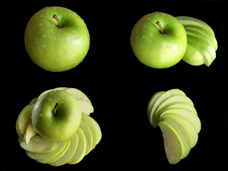Collage green apple isolated on a black background, with great contrast of light and color