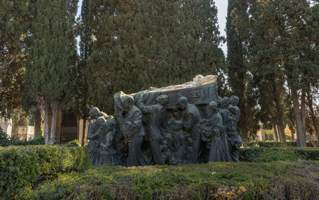 Pantheon, tomb of the bullfighter Joselito el Gallo in the cemetery of Seville, made by Mariano Benlliure. Seville, Spain March 3, 2019 Stock Photo