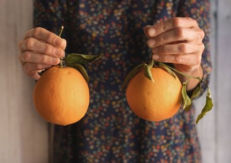 Human hands holding two oranges, view from the front