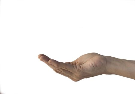 human hand showering something, stretched up, isolated on a white background