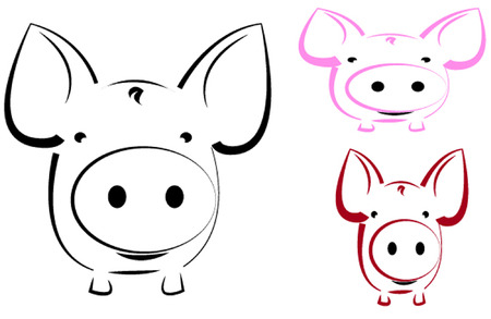 Vector image of an pig  Vector