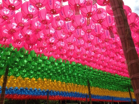 wish: Lanterns at temple in korea Stock Photo