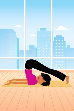 mujer ejercitandose: Mujer practicando yoga plantean Vectores