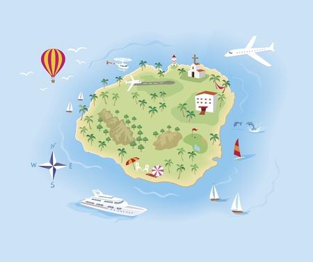 schatkaart: Kaart van het eiland reizen Illustrated, met veel details Stock Illustratie