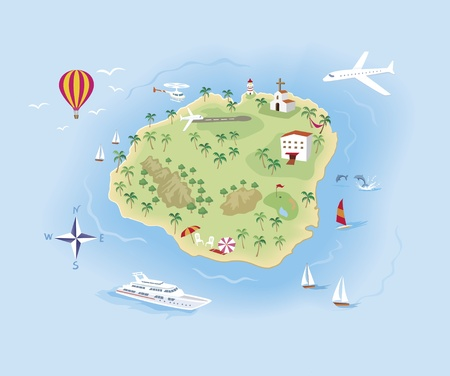 treasure map: travel Island Map Illustrated, with a lot of details Illustration