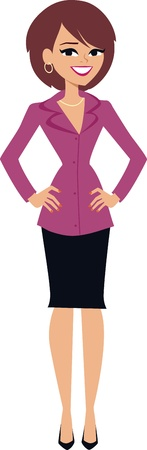 Illustration of a smiling woman standing, and wearing professional clothing.
