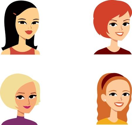 pelirrojas: Retrato de dibujos animados conjunto con 4 mujeres Vectores