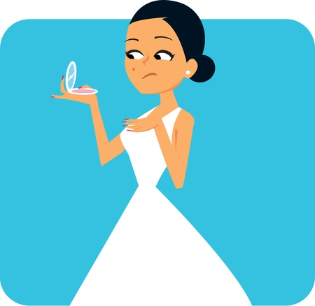 Cartoon Bride looking at the mirror Illustration