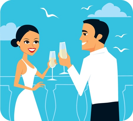 Cartoon couple toasting Illustration