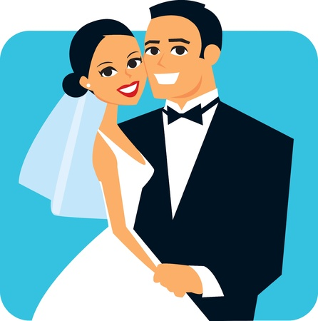 Cartoon Wedding Couple Getting Married Vector