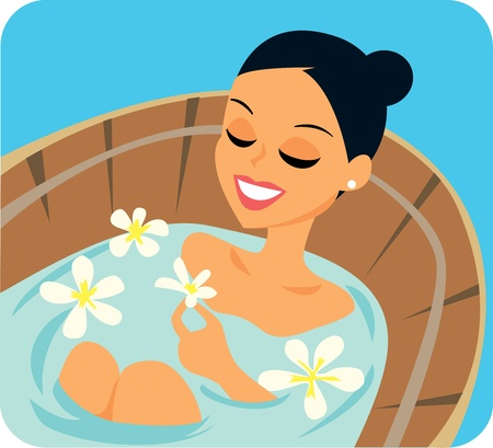 woman bath: Cartoon woman in spa bath treatment Illustration