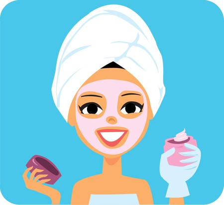 Cartoon woman with Spa facial mask and lotion