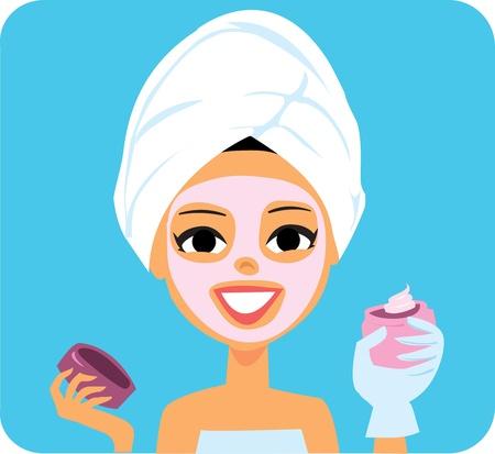 mimos: Dibujos animados mujer con m�scara facial y la loci�n de Spa
