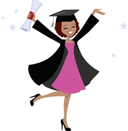 cap and gown: Graduation Girl Cartoon