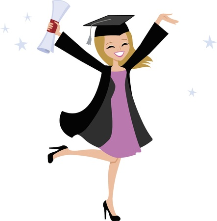 Graduate Girl Cartoon Vector