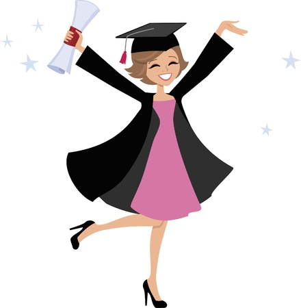 college girl: Graduate Girl Cartoon
