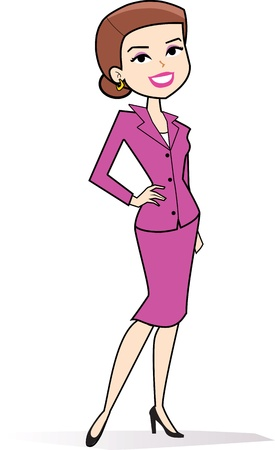 mujer sola: Cartoon mujer clipart dibujo en estilo retro