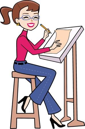 female architect: Cartoon woman sitting Illustration