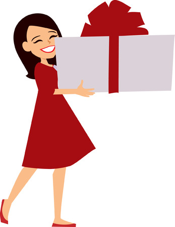fullbody: Young Girl Holding a Gift Box